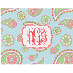 Blue Paisley Woven Fabric Placemat - Twill w/ Monogram