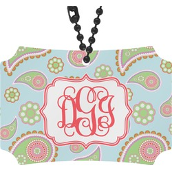 Blue Paisley Rear View Mirror Ornament (Personalized)