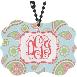 Blue Paisley Rear View Mirror Charm (Personalized)