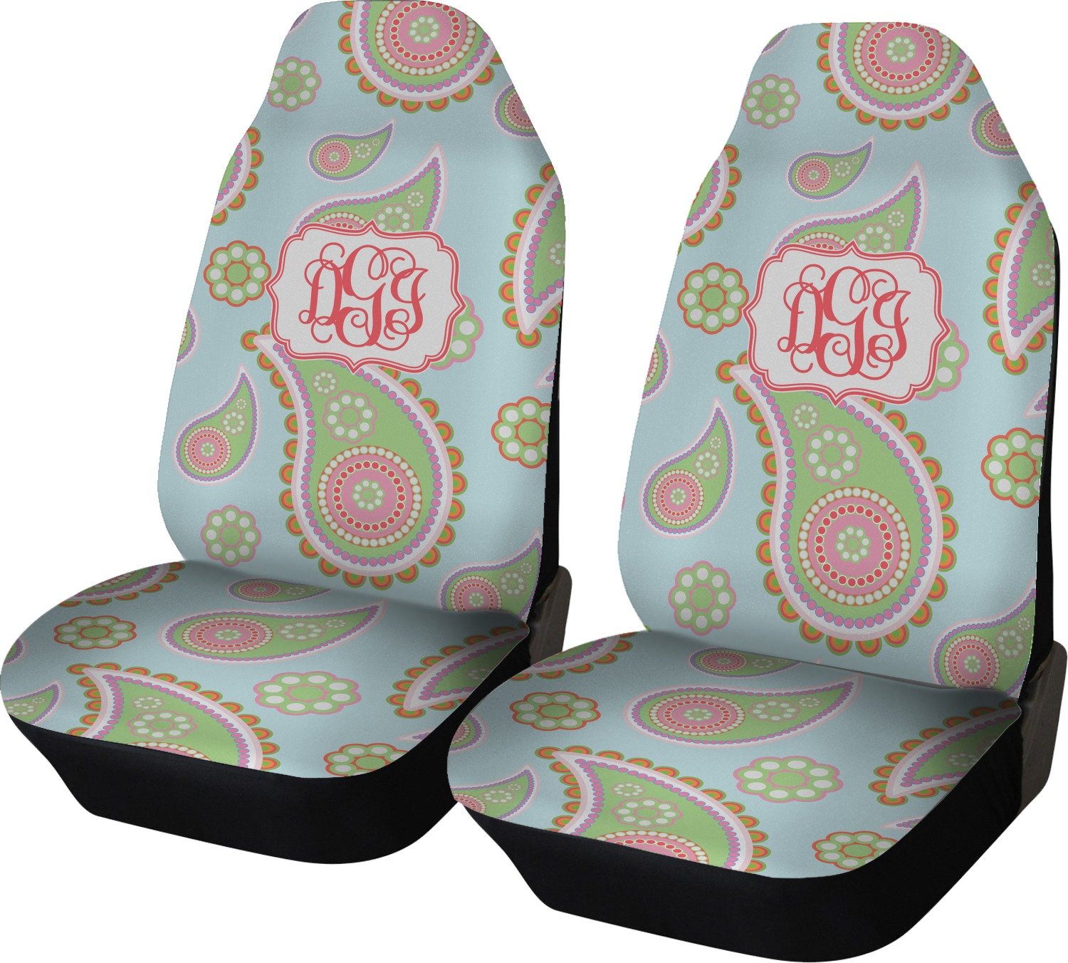Blue Paisley Car Seat Covers (Set Of Two) (Personalized