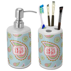 Blue Paisley Ceramic Bathroom Accessories Set (Personalized)