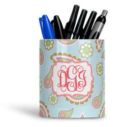 Blue Paisley Ceramic Pen Holder