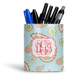 Blue Paisley Ceramic Pen Holder