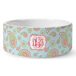 Blue Paisley Ceramic Pet Bowl (Personalized)