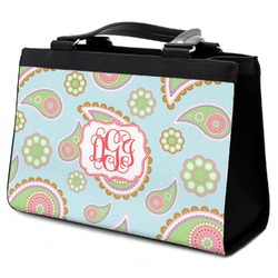 Blue Paisley Classic Tote Purse w/ Leather Trim (Personalized)