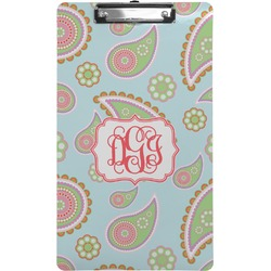 Blue Paisley Clipboard (Legal Size) (Personalized)