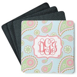 Blue Paisley 4 Square Coasters - Rubber Backed (Personalized)
