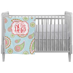 Blue Paisley Crib Comforter / Quilt (Personalized)