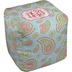 Blue Paisley Cube Pouf Ottoman (Personalized)