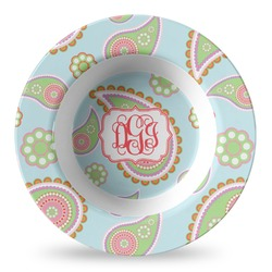 Blue Paisley Plastic Bowl - Microwave Safe - Composite Polymer (Personalized)