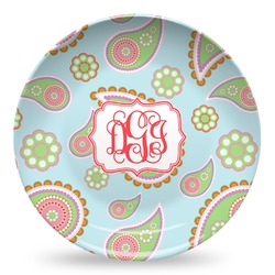 Blue Paisley Microwave Safe Plastic Plate - Composite Polymer (Personalized)