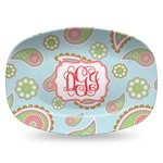 Blue Paisley Plastic Platter - Microwave & Oven Safe Composite Polymer (Personalized)