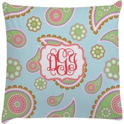 Blue Paisley Decorative Pillow Case (Personalized)