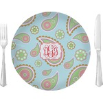"Blue Paisley Glass Lunch / Dinner Plates 10"" - Single or Set (Personalized)"