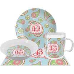 Blue Paisley Dinner Set - 4 Pc (Personalized)
