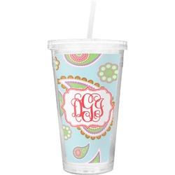 Blue Paisley Double Wall Tumbler with Straw (Personalized)