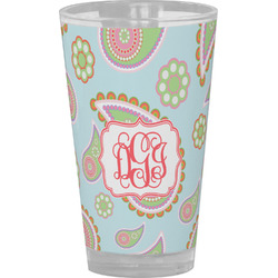 Blue Paisley Drinking / Pint Glass (Personalized)