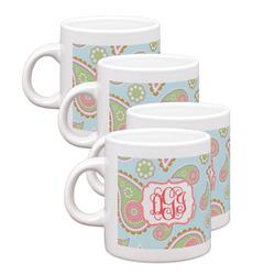 Blue Paisley Espresso Mugs - Set of 4 (Personalized)