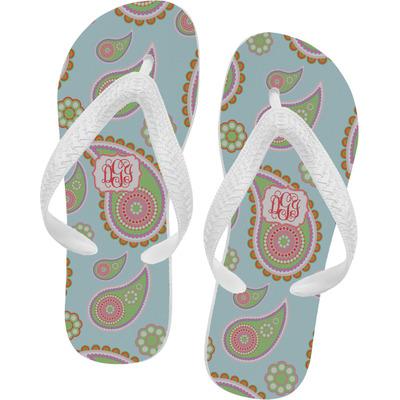 Blue Paisley Flip Flops (Personalized)