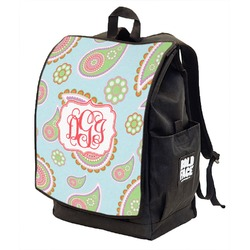 Blue Paisley Backpack w/ Front Flap  (Personalized)