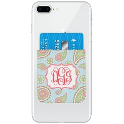 Blue Paisley Genuine Leather Adhesive Phone Wallet (Personalized)
