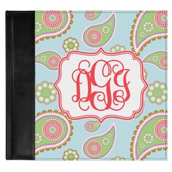 Blue Paisley Genuine Leather Baby Memory Book (Personalized)