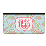 Blue Paisley Genuine Leather Checkbook Cover (Personalized)