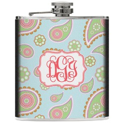 Blue Paisley Genuine Leather Flask (Personalized)