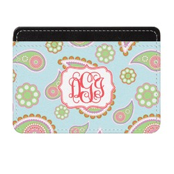 Blue Paisley Genuine Leather Front Pocket Wallet (Personalized)