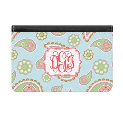 Blue Paisley Genuine Leather ID & Card Wallet - Slim Style (Personalized)