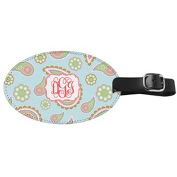 Blue Paisley Genuine Leather Oval Luggage Tag (Personalized)