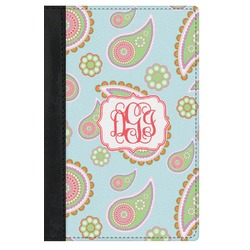 Blue Paisley Genuine Leather Passport Cover (Personalized)