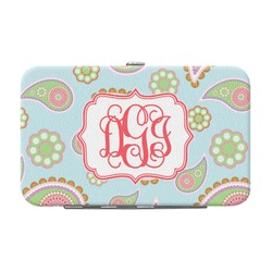 Blue Paisley Genuine Leather Small Framed Wallet (Personalized)
