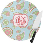 Blue Paisley Round Glass Cutting Board (Personalized)