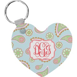Blue Paisley Heart Keychain (Personalized)