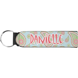 Blue Paisley Neoprene Keychain Fob (Personalized)
