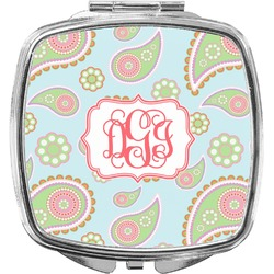 Blue Paisley Compact Makeup Mirror (Personalized)