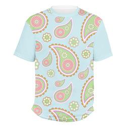 Blue Paisley Men's Crew T-Shirt (Personalized)