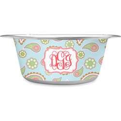 Blue Paisley Stainless Steel Dog Bowl (Personalized)