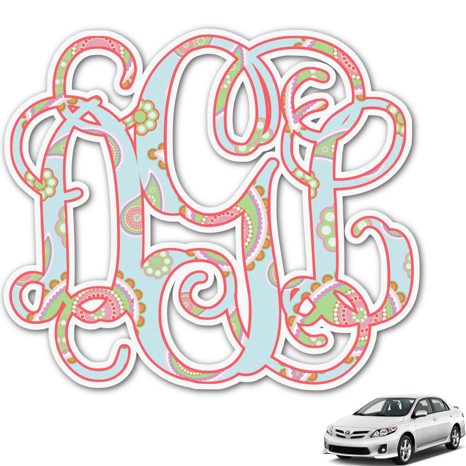 Blue Paisley Monogram Car Decal (Personalized