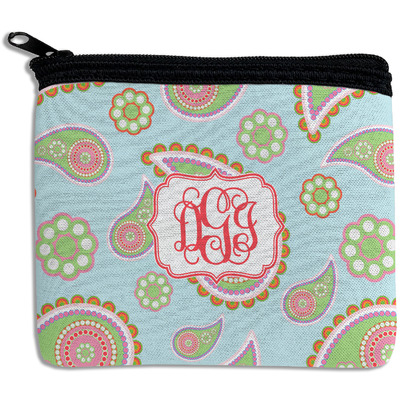 Blue Paisley Rectangular Coin Purse (Personalized)
