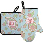 Blue Paisley Oven Mitt & Pot Holder (Personalized)