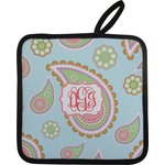 Blue Paisley Pot Holder w/ Monogram