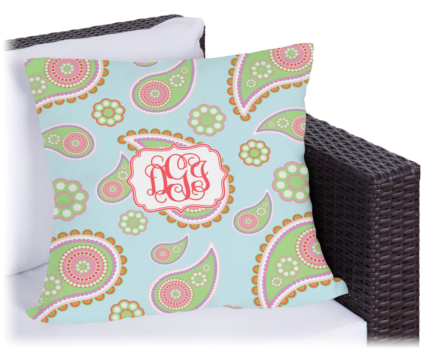 Blue Paisley Outdoor Pillow Personalized Youcustomizeit