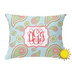 Blue Paisley Outdoor Throw Pillow (Rectangular) (Personalized)