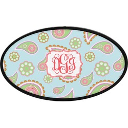 Blue Paisley Oval Trailer Hitch Cover (Personalized)