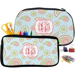 Blue Paisley Pencil / School Supplies Bag (Personalized)