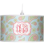 Blue Paisley Drum Pendant Lamp (Personalized)