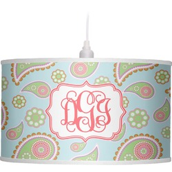Blue Paisley Drum Pendant Lamp Linen (Personalized)