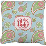 Blue Paisley Faux-Linen Throw Pillow (Personalized)